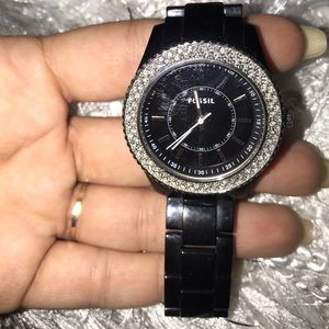 Fossil black studded watch